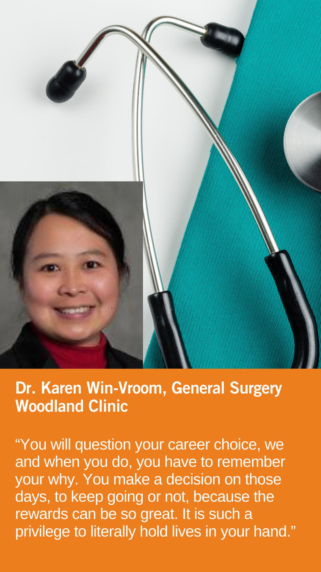 Karen Win-Vroom, MD, General Surgery, Woodland Clinic